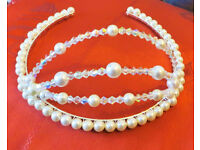Make it a day to remember with this stunning Handmade Crystal & Pearl tiara.