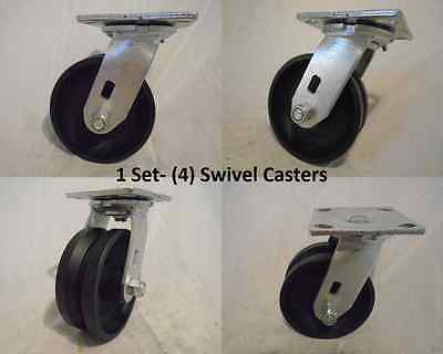 5 X 2 Swivel Caster V-groove 78 Iron Steel Wheel 900lbs Each 4