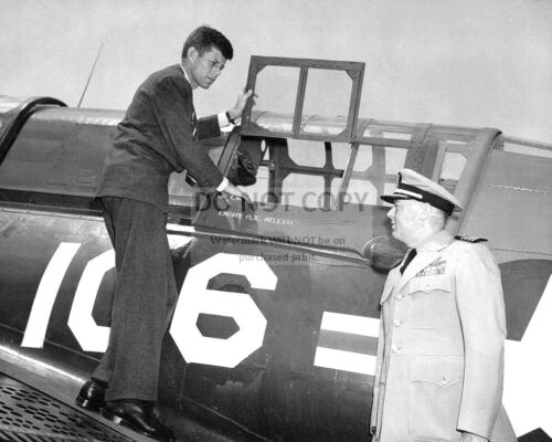 U.S. REP. JOHN F. KENNEDY INSPECTS NAVAL AIRCRAFT IN 1947 - 8X10 PHOTO (FB-186)