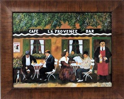 Guy Buffet Skilful Framed La Provence Cafe Bar Enhanced Canvas