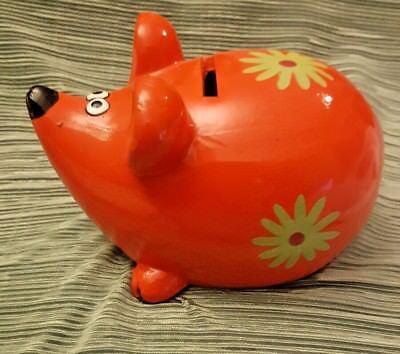 Cerámica Hucha Red-Orange Verde Pintada Decorativa Jerbo bajo Mundo Envío
