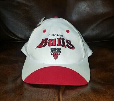 Vtg 90s Chicago Bulls Spell Out Snapback Cap Hat   white/red trim   New With Tag