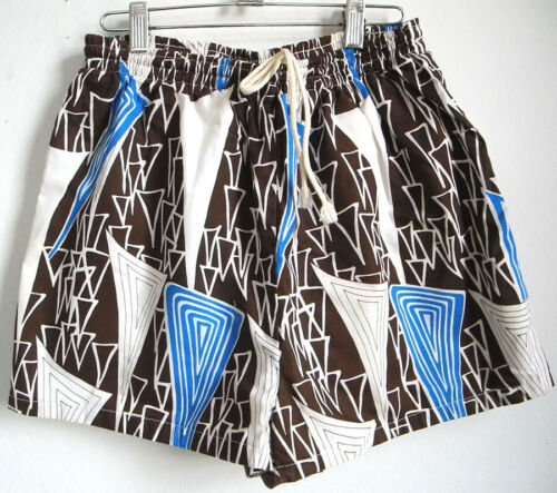 VTG 70s cotton wild mid century brown + blue print mens swimming trunks M