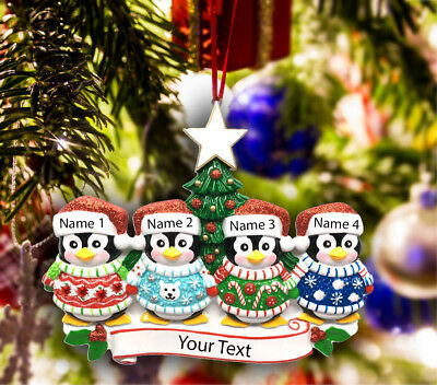 Personalized Christmas Tree Ornament Holiday Gift, Penguins for Family of 3-4