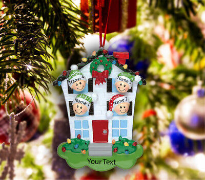 Personalized Christmas Tree Ornament Holiday Gift, House for Family of 2-3-4-5