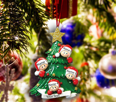 Personalized Christmas Tree Ornament Holiday Gift, Tree for Family of 2-3-4-5 ()