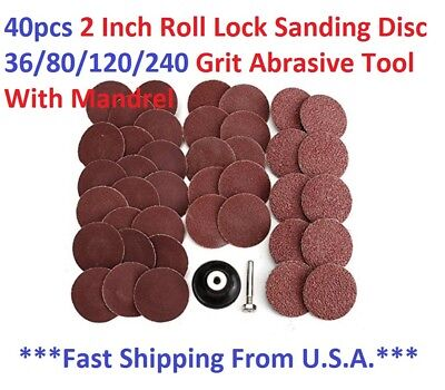 40pcs 2 Inch Roll Lock Sanding Disc 40/80/120/240 Grit Abrasive Tool With Mandre for sale  Shipping to India