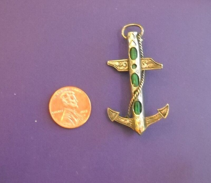 Rare Scottish Antique Sterling and Malachite Agate Anchor with Rope Brooch Ex