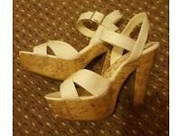 Size 6 White Strappy Wedges