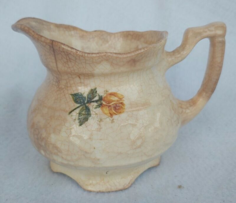 Antique Old Vintage Yellow Rose Cream Pitcher Creamer Shabby Chic