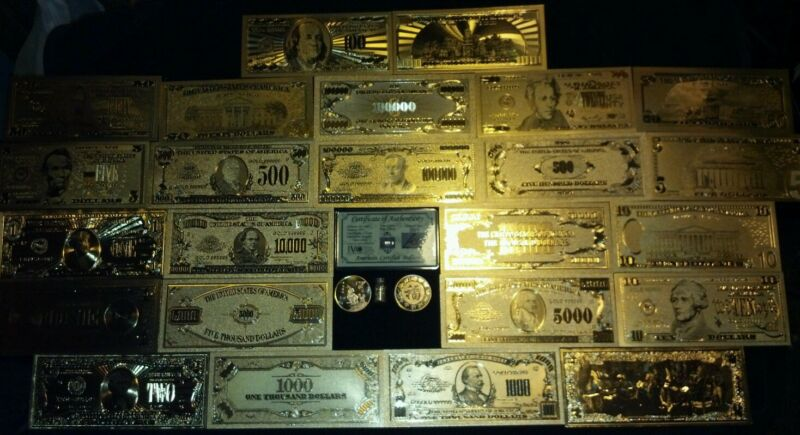 MINT GOLD Rep.* Banknote SET$1-$1M W/COA+Coin& MORE~DOLLARS Above $100=MUST SEE!