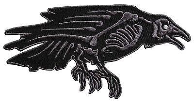 Skelli Bones Raven Embroidered Iron On Patch - Crow Bird Creepy  039-F