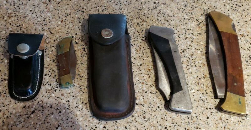 Vintage Lot of 3 Folding Hunting Knives: Custom Crafted Sharp 300 Japan, Etc.