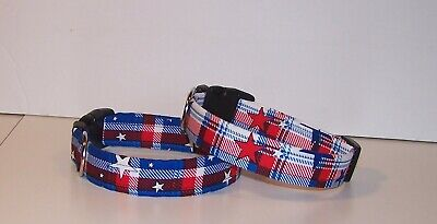 Wet Nose Designs Patriotic Plaid Dog Collar Stars 4th of July Red White Blue  Blue Stars Dog Collars