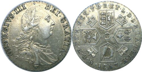 1787 Great Britain George III Silver Shilling KM# 607.2 With Hearts Extra Fine