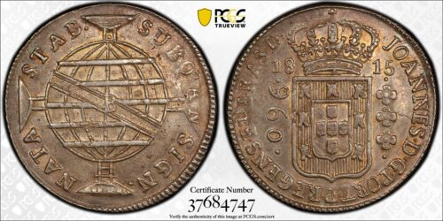 Brazil 1815 B 960 REIS Silver Coin PCGS AU58 Struck over 8 Reales Choice AU+