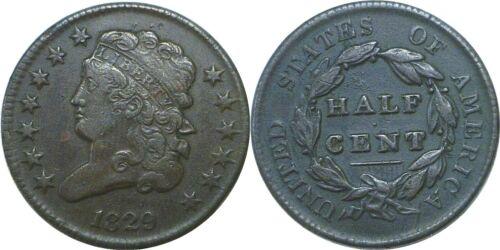 1829 1/2C BN Classic Head Half Cent Very Fine