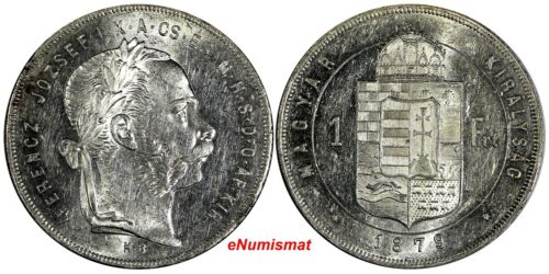 Hungary Franz Joseph I (1848-1916) Silver 1879 KB 1 Forint  AU-UNC KM# 453.1
