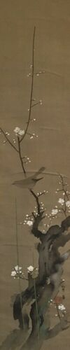 Japanese Hanging Scroll Kakejiku Bird Hand Paint Silk Stamp Antique n054