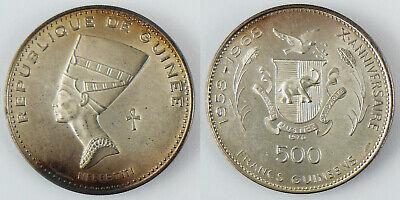 GUINÉE ,  500  FRANCS  ARGENT  NEFERTITI  1970  ,  SUPERBE