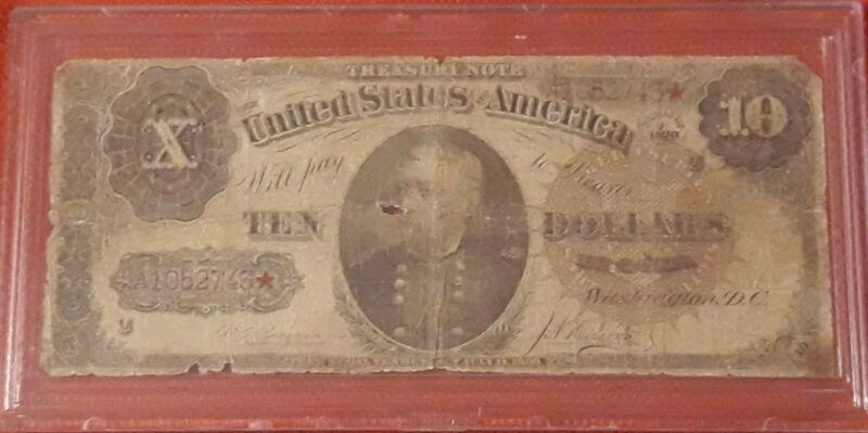 1890 $10 Treasury Note Ornate Back Fr-366 - G