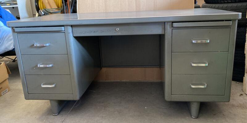 Vintage Steel Tanker Desk Mid Century Gray Steelcase