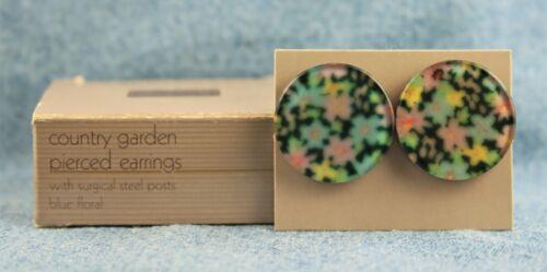 "Vntg 1986 Avon Blue Floral ""Country Garden"" Round Lucite ? Pierced Earrings"