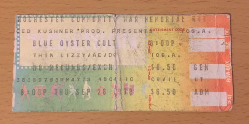 1978 BLUE OYSTER CULT THIN LIZZY AC/DC ROCHESTER CONCERT TICKET STUB BON SCOTT