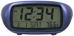 31038 Equity by La Crosse Digital Alarm Clock with Indoor Temperature - Blue