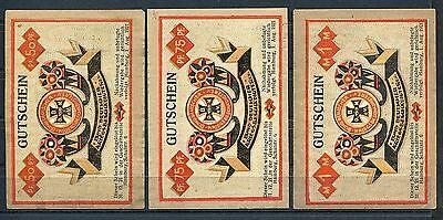 Hamburg 3 mal Notgeld Bund Deutscher Kriegsbeschädigter mit Datum mit Wz