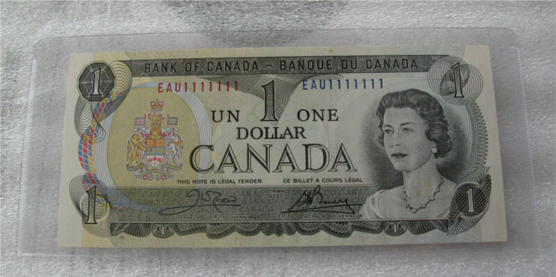 1973 BANK OF CANADA $1 DOLLAR BANKNOTE  BC-40b RADAR SOLID NUMBER EAU1111111 UNC
