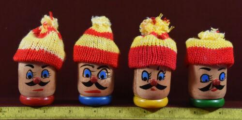 Vintage Wooden Egg Cups 8 pc Mustachioed Men w Knit Hats Egg Cozies