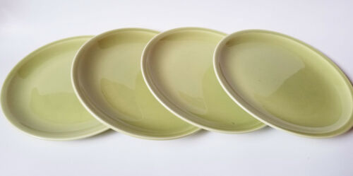 Paden City Pottery Greenbrier Chartreuse Green Dinner Plates Dish Set Of 4 MCM