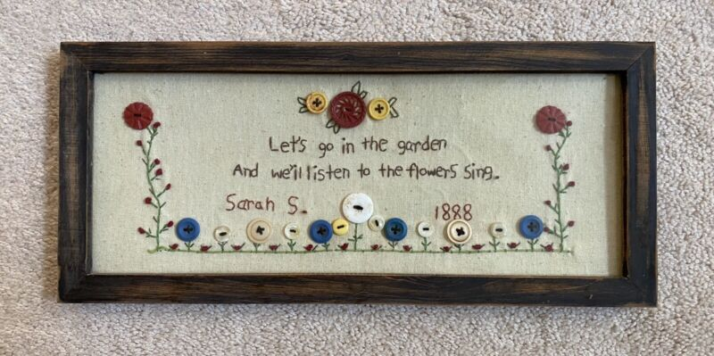 Embroidered Vintage Art Sampler Framed Garden Flowers
