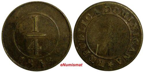 Dominican Republic Brass 1848 1/4 Real SCARCE KM# 2