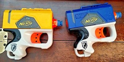 Lot of 2 NERF N-Strike Single Shot Soft REFLEX Guns 2 darts 2007 Yellow & Blue