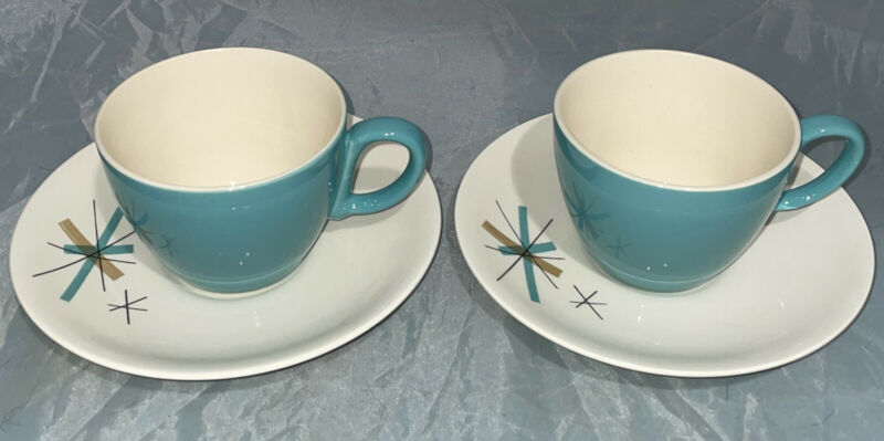 SALEM NORTH STAR 2 Cup & Saucer Sets—Atomic Starburst Mid Century