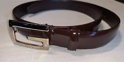 GUCCI VINTAGE INITIAL G LOGO CHROME BUCKLE SLIM BELT Brown SHEENY PATENT LEATHER