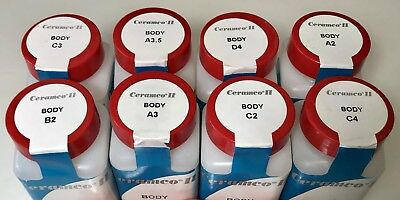 Ceramco Ii 2 Dentsply Body C2 C4 B2 A3 C3 A3.5 D4 A2 Dental Lab Porcelain 4 Oz