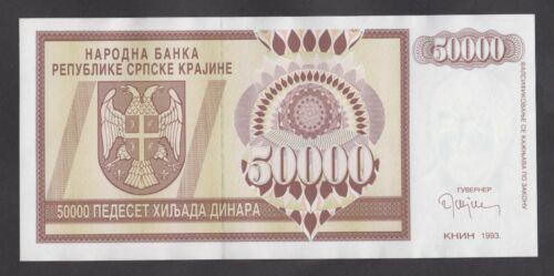 CROATIA   50000 Dinara 1993 UNC-  PR8a  Krajina - Knin Issue   RARE in high grad