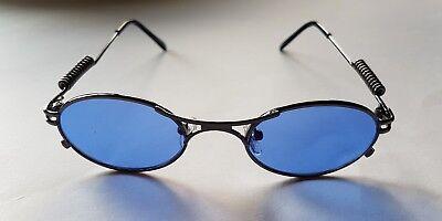 Design Sonnenbrille Vintage Rahmen Metall Schwarz Retro Gläser Blau