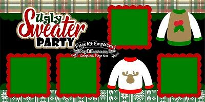 Christmas Page Kit - Scrapbook Layout Page Kit Christmas Ugly Sweater Party Die Cut PKEmporium 164