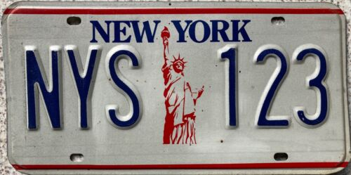 New York Statue of Liberty American Sample License Number Plate Tag NYS 123