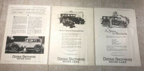 LOT OF 9 VINTAGE 1927 MAGAZINE ADS FOR DODGE BROTHERS MOTOR CARS