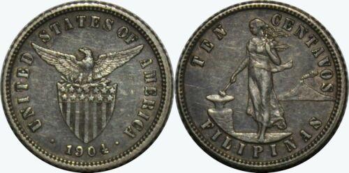 1904 (P) US/Philippines 10 Centavos ~ XF ~ 90% Silver ~ Allen#7.03 ~ MX445