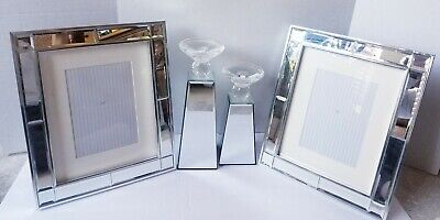 New 4pc Mirrored Glam Bling Photo Frames 5x7 Crystal Candle Holder Set