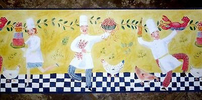 Pasta Chefs Wallpaper Wall Border French Italian kitchen chef yellow bistro
