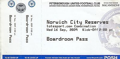 Ticket - Peterborough United Reserves v Norwich City Reserves 16.09.09 Boardroom