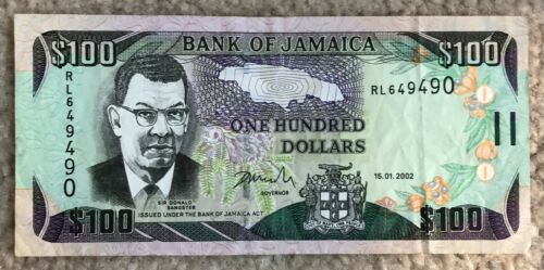 Bank of Jamaica, Paper Note $100, 2002, P-80 (80b)
