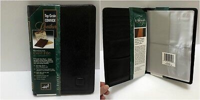 Hazel Top Grain Cowhide Leather Black Business Card Holder Case Organizer File